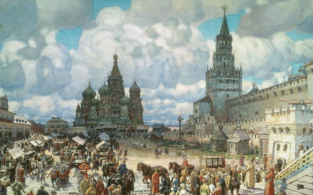 Вид Кремля и Всехсвятского моста из Замоскворечья.