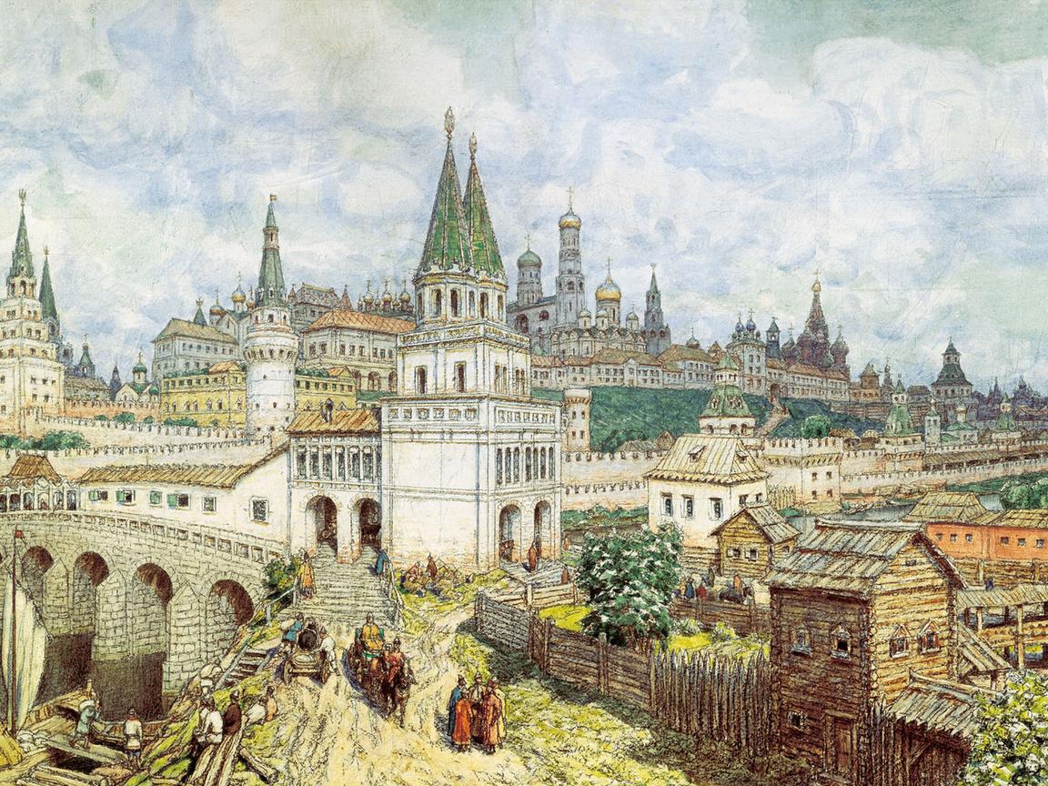 Расцвет Кремля. Всехсвятский мост и Кремль в конце 17 века.