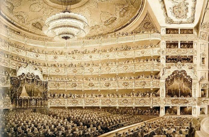 Зрительный зал и сцена Большого театра. около 1856 г.