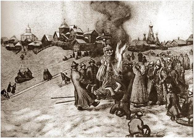 Аполлинарий Васнецов. «Сжигание чучела Масленицы»