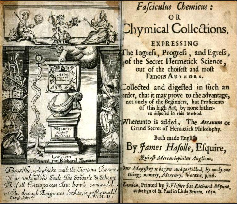 Титульный лист книги Артура Ди «Fasciculus Chemicus»