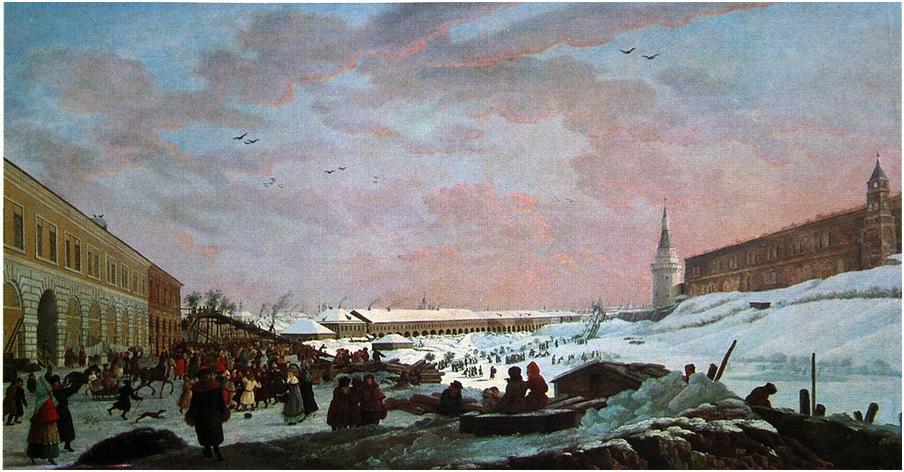 Жерар Делабарт. Вид ледяных гор в Москве во время Сырной недели (Масленица), 1795 год.