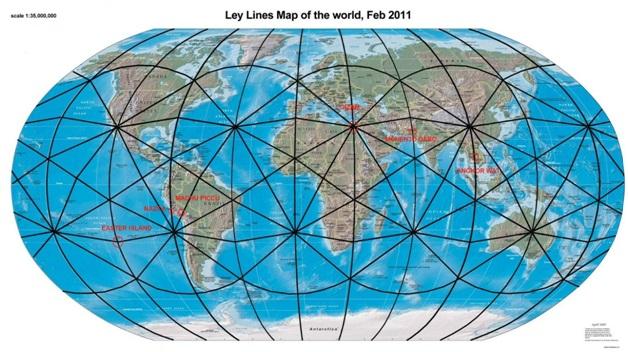 Главные энергетические линии на карте мира