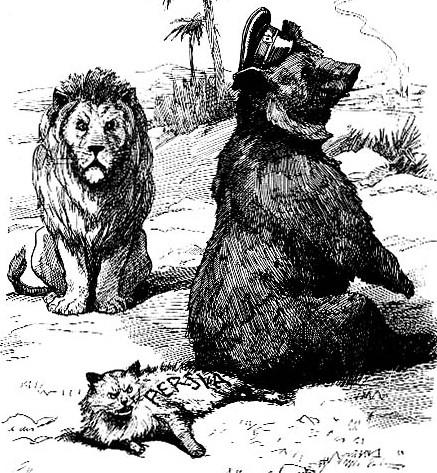Карикатура конца 19 века. Россия (медведь) села на Персию (кота), за этим наблюдает Великобритания (лев)