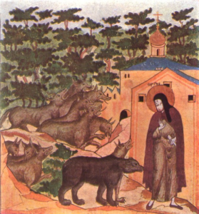 Св. Сергий Радонежский и медведь