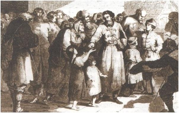 Князь Иван Калита раздает милостыню
