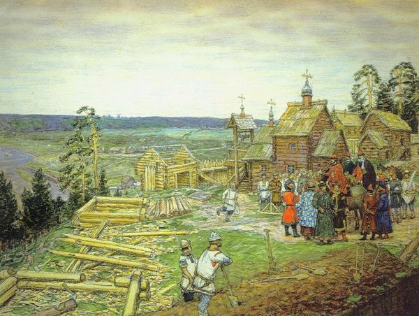 Основание Москвы Юрием Долгоруким. Картина Васнецова.