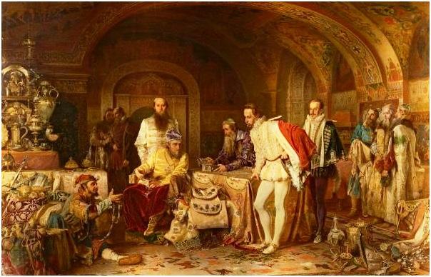 Иван Грозный показывает английскому послу Горсею свои сокровища