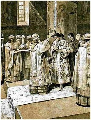 Иван Грозный венчается на царство в Шапке Мономаха